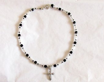Black and Silver Cross Anklet, Black / Silver Beaded Anklet, Beaded Anklet, Seed Bead Anklet, Charm Anklet, Womens Anklet, Anklet for Women