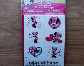 Disney Junior Minnie Tattoos~4 Tattoo Sheets~24 Tattoos~Minnie Mouse