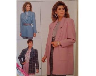 "UNCUT Butterick Easy #5759 Long Blazer Jacket Sewing Pattern 3 Sizes Bust 34"" 36"" 38"" UK 12 14 16"