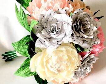 Wedding bouquet,bridal bouquet,peony bouquet,music notes rose,bouquet music notes,bride,bouquet,wedding music notes.