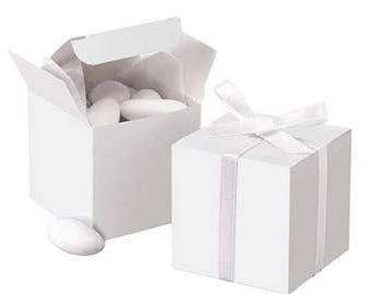 40x White Bomboniere Favour Boxes • Wedding Party Baby Shower Baptism Christmas Gift Box • Chocolate Candy Cookie Box