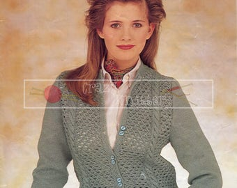 Lady's Lacy Cardigan 32-40in 4ply Patons 7193 Vintage Knitting Pattern PDF instant download