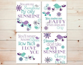 Kids wall decor Childrens wall decor Baby wall art Girl art prints You are my sunshine Purple mint nursery art Playroom art Baby art #0841