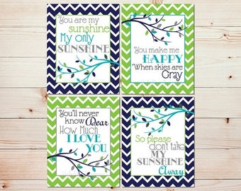 You are My Sunshine Decor Nursery Wall Decor Baby Boy Nursery Art Prints Modern Nursery Wall Art Nursery Quad Navy Lime Green Nursery #0669