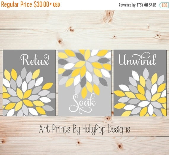 Bathroom Art Grey: Yellow Gray Wall Art Set Of 3 Bathroom Prints Bathroom Wall