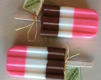 set of 2 NEAPOLITAN Ice Cream SOAP POPS, Popsicles-Handmade by spa uptown, vegan, 3 oz each
