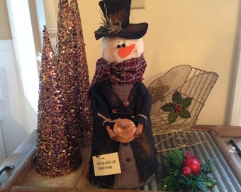 Primitive Snowman Scrooge with Battery Operated Tealight Candle, God Bless Us Everyone Snowman, Handmade Snowman