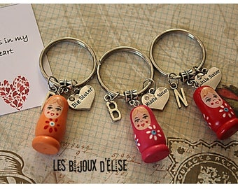 3 pcs Matryoshka Big Sister, Middle Sister, Little Sister Keychain Friendship Keychains Family Keychain (KC31-LOT 3)