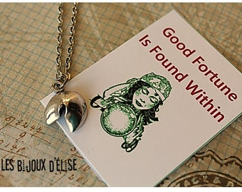 Fortune Cookie Necklace Good Fortune Necklace Chinese Cookie Necklace Humoristic (CO57) Zinc Alloy