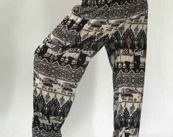 SM0024 elephant in black Thai Lady Pants Gypsy Pants Rayon Pants,Aladdin Pants Maxi Pants Boho Pants