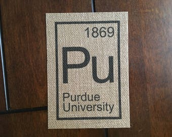 Purdue University Element on Burlap, 5in x 7in (Unframed)