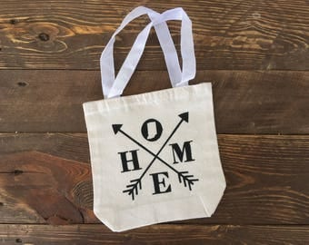 Home, Indiana State - Canvas Tote Bag, 8 x 2.5 x 8, Natural