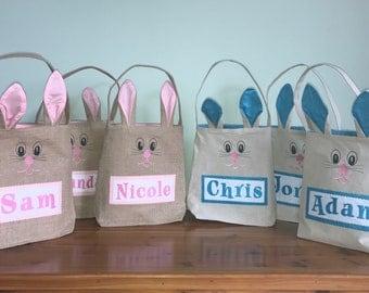 Personalized Easter Basket - Burlap Bunny Bag - Easter Basket - Easter Bag - Easter Basket With Bunny Ears - Custom Easter Basket