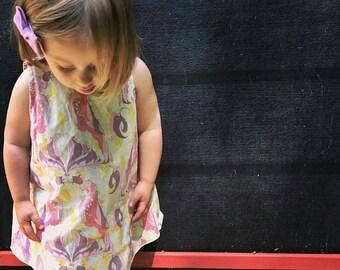 4T Reversible Woven Jumper Dress, Line Drawn Butterflies on Pink and Lemon Parrot