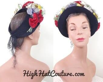 Vintage 1930s Hat / Open Crown / Navy Blue / Flowers / Halo