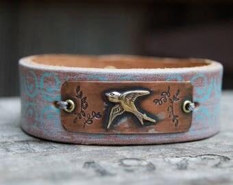 Distressed Leather & Cooper Bracelet . Soaring Bird. Boho. South Western Design. Cowgirl . Bracelet. Boho . By Nin and Bumm