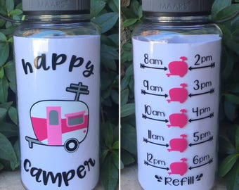 Happy CAMPER motivational water bottle with hourly time tracker