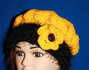 yellow and black beret very warm