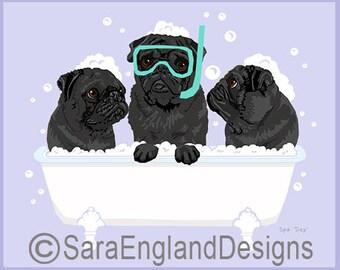 Spa Day - Pug-Black