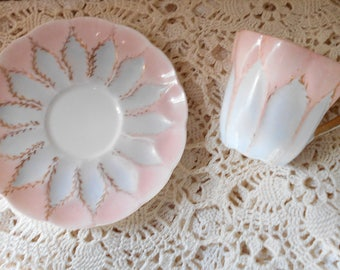 1920s Teacup and saucer set Demitasse set pink white gold leaf scalloped Doulton Burslem England.
