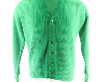 Vintage 60s Cardigan Sweater Mens XL Green Striped Virgin Orlon Acrylic [H87K_1-1_Shelf]