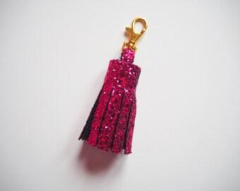 Magenta Glitter Tassel Keyring, Sparkly Pink Tassel Keychain, Bright Pink Tassels, Magenta Glitter Keyring, Sparkly Pink Keyring,