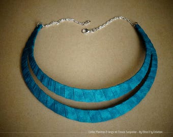 Necklace Plastron 2 rows/ethnic in Turquoise cotton fabric