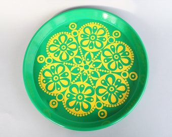 Retro tin serving tray green yellow seventies flower power English mid century modern party summer drinks