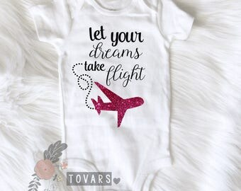 Pink Let Your Dreams Take Flight Shirt Airplane Baby airplane shirt airplane t shirt plane shirt airplane theme shirt pink glitter airplane