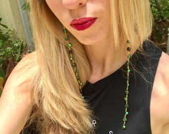 Long boho green pearl earrings