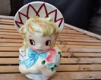 Lefton Miss Dainty Girl Vintage Figurine for Divided Relish Dish Made in Japan