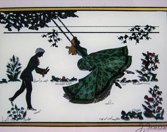 "Vintage Victorian silhouette Shadow Picture Romantic Lady J Jensen Man Glass 11.5x9.5"" Swing Victorian Dress Reversed painted Foil Romance"