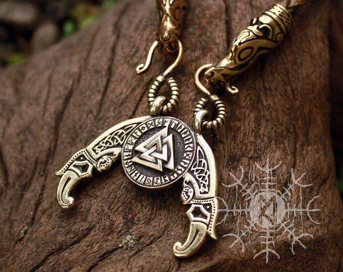 Bronze Valknut Futhark Odin Triple Horn Triskele Ravens Huggin Munnin Vikings Pendant Wolf Heads Leather Necklace
