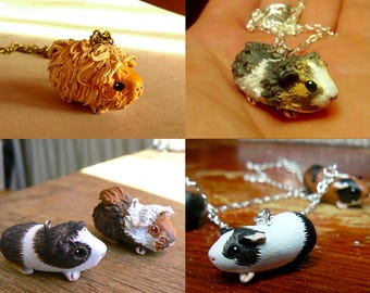Your own custom necklace - Little guinea pig necklace - Made to order- Pet portrait - Animal souvenir