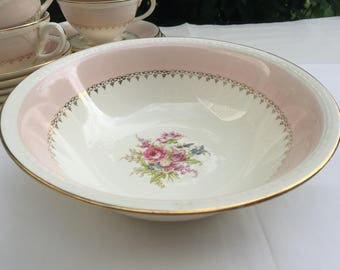 Homer Laughlin Pink China Round Serving Bowl Floral Pastel 1940s