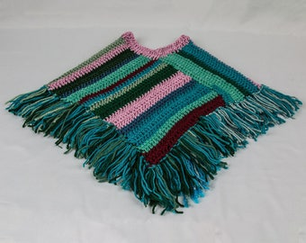 Baby and toddler Fringed poncho Multi colored crocheted poncho Classic Boho striped poncho