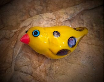 yellow bird, yellow bird bead, glass bird, sweet birdie, bird jewelry, yellow glass bird bead