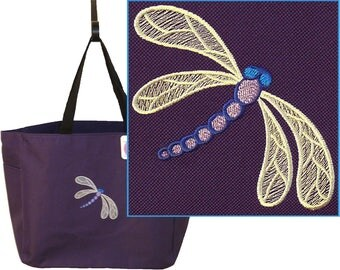 Whimsical Dragonfly Monogram Bag Essential Tote + Free Name Custom Embroidered