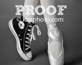 Pointe shoe and Converse Ballerina Print 'Anna' - Black and White 8x10 print