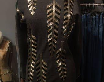 Grey Knit Beaded Mini Dress