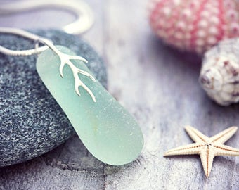 Beach Glass Necklace Sea Glass Jewelry Genuine Seaham Aqua Seafoam Waves Seaglass Pendant Silver Coral Aqua Blue Green Nautical Eco Friendly