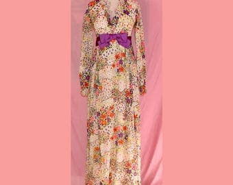 60s psychedelic flower power formal maxi dress