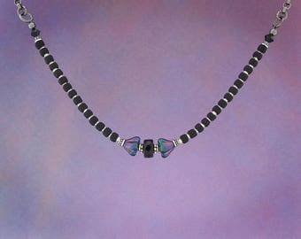 Wild Orchid choker adjustable necklace, black choker necklace, black chain necklace, orchid necklace, purple necklace, black necklace.