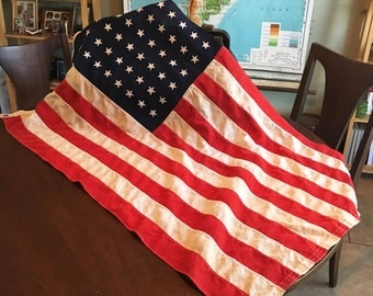 Lovely Vintage Handmade Cotton 48-Star American Flag - Classroom Size - Vibrant Colors