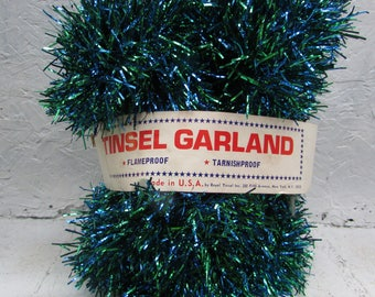 VINTAGE 15 Feet of Tinsel Garland. Flameproof. Tarnishproof.  Royal Tinsel. New York, NY. New Old Stock.