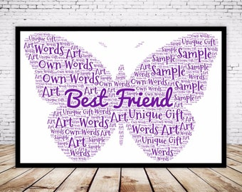 Personalised Word Art Gift Framed Butterfly Best Friend Birthday Daughter Auntie Sister Mum Nan Niece