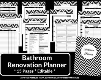 bathroom remodel checklist planner printable renovation home improvement diy inspiration budget layout editable template pdf digital