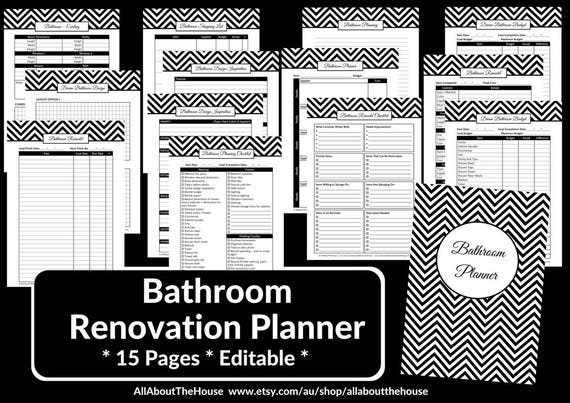 Bathroom remodel checklist planner printable renovation for Bathroom templates for planning