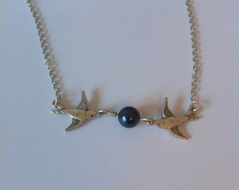 Vintage swallows and Pearl, silver and dark blue necklace