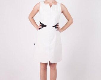 White cotton and black lycra Tifia at Chilia dress